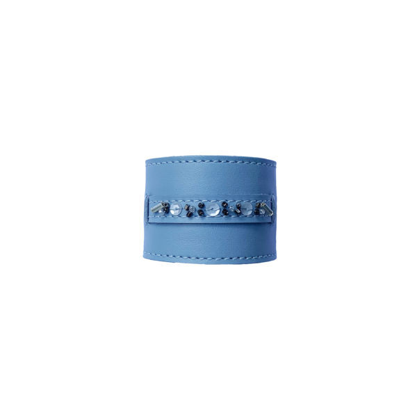 Blue leather napkin ring with selection of beads.