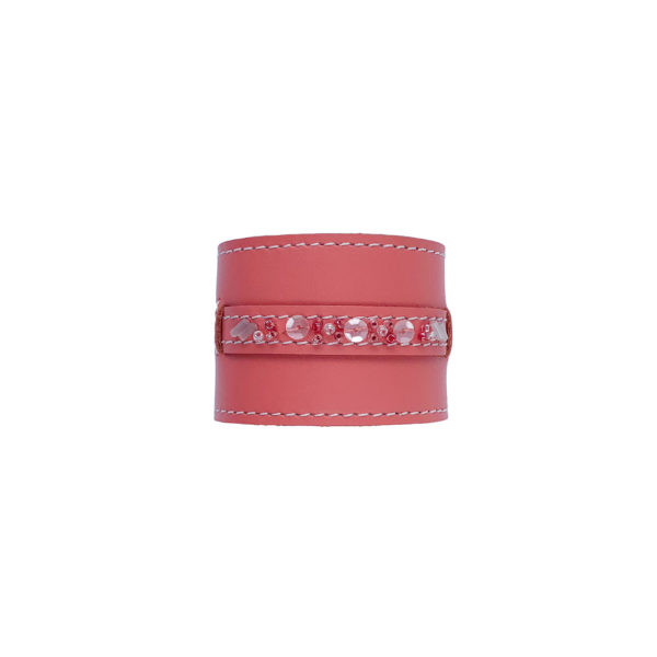 coral colored leather napkin ring with beads