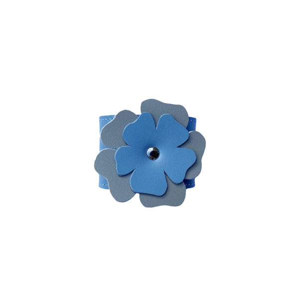leather flower in blue