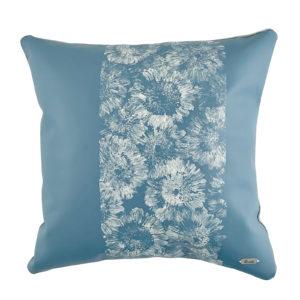 Handprinted blue leather Gerbera pillow