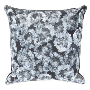 Handprinted black leather Gerbera pillow