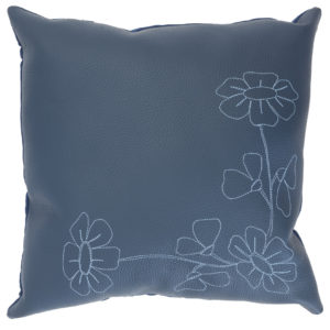 Blue colored leather pillow with stitched hibiscus flowers.