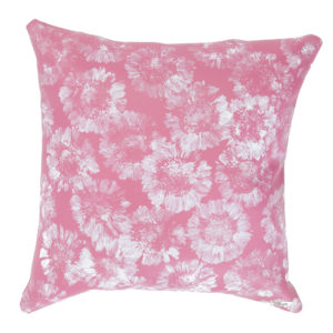 Pink colored leather pillow with white printed Gerberas