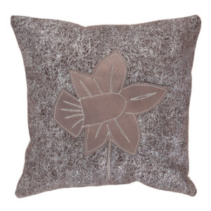 Brown leather pillow with daffodil appliqué