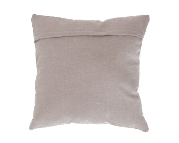 Back of pillow in brown fabric