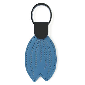 BLUE LEATHER KEYCHAIN WITH STITCHES