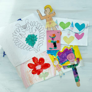 Drawings and collages made as a child