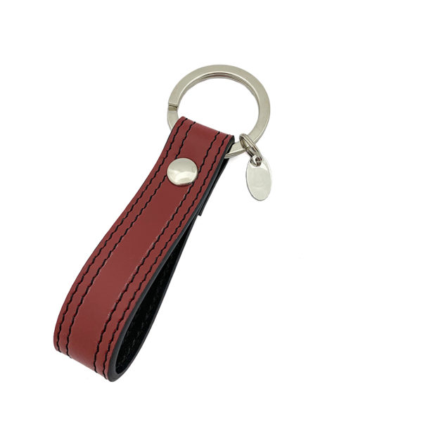 BACK OF KEYCHAIN COLOUR WINE RED BLACK - DOUBLE STITCHED