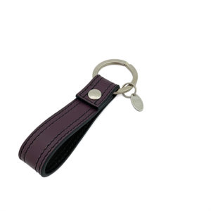 KEYCHAIN COLOUR DARK GRAPES BLACK - DOUBLE STITCHED