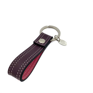 KEYCHAIN COLOUR DARK GRAPES PINK - DOUBLE STITCHED