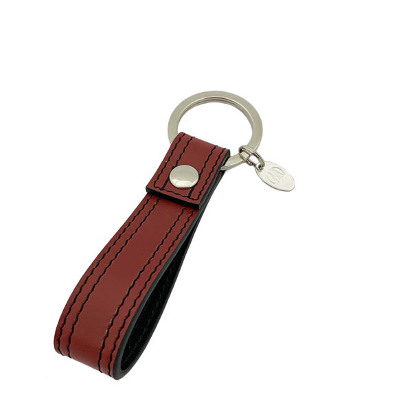 KEYCHAIN COLOUR WINE RED BLACK - DOUBLE STITCHED