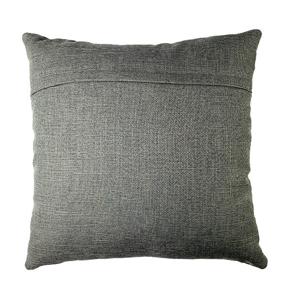 FABRIC BACK LEATHER PILLOW WITH 3 MONSTERA LEAFS