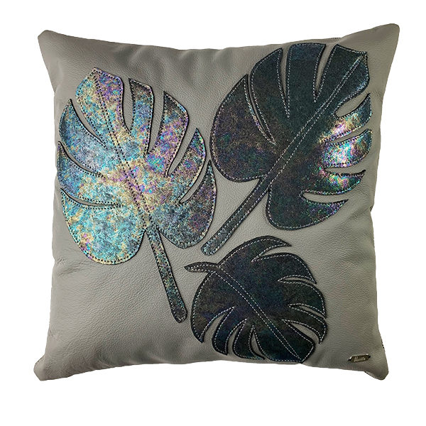 LEATHER PILLOW WITH 3 MONSTERA LEAFS