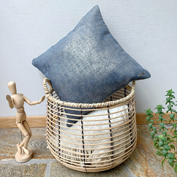 Leather cushion blue styled with basket
