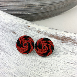 Sterling silver frame earrings with a chili red and black leather woven piece