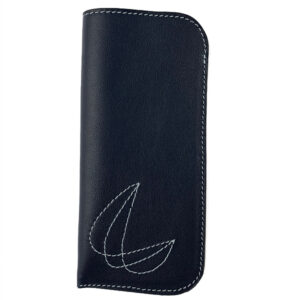 Leather glasses sleeve with stitched decoration