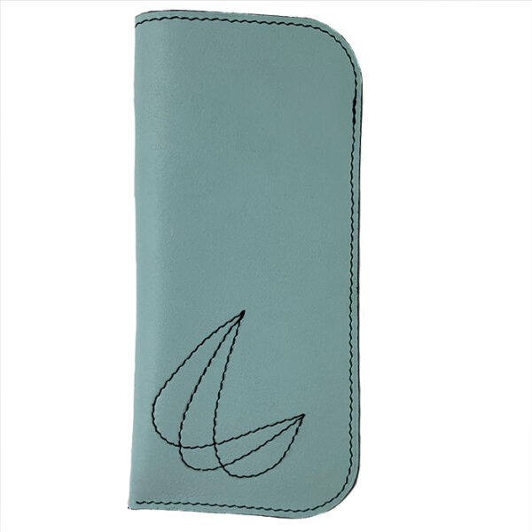 Leather glasses sleeve sky blue with stitched decoration