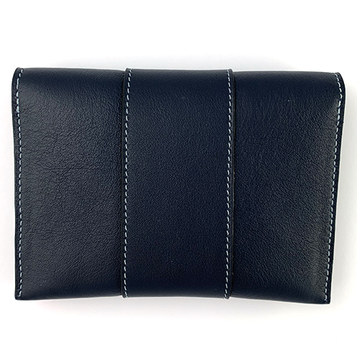 Lederen pochette nachtblauw met lichtblauw stiksel