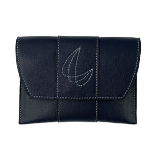 Leather pouch night blue with stitched decoration