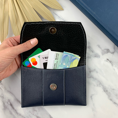 open leather pouch in night blue leather with cards