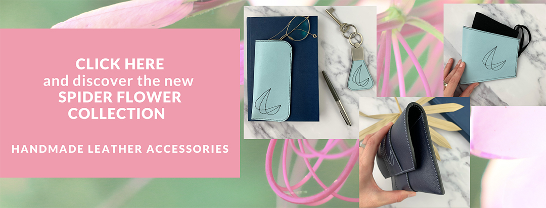 Banner overview Spider Flower collection with 3 pictures of handmade leather accessories