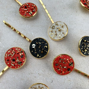 Gold hairpins with embroidered Pinatex in black, paprika and natural colour